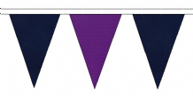 NAVY BLUE AND PURPLE TRIANGULAR BUNTING - 10m / 20m / 50m LENGTHS